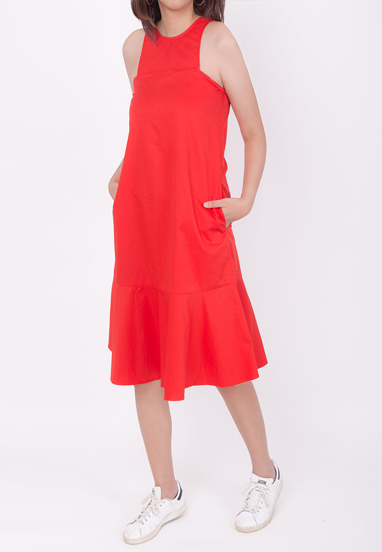 SLEEVELESS OVERSIZED FLARE-HEM DRESS - RED (MOMMY)