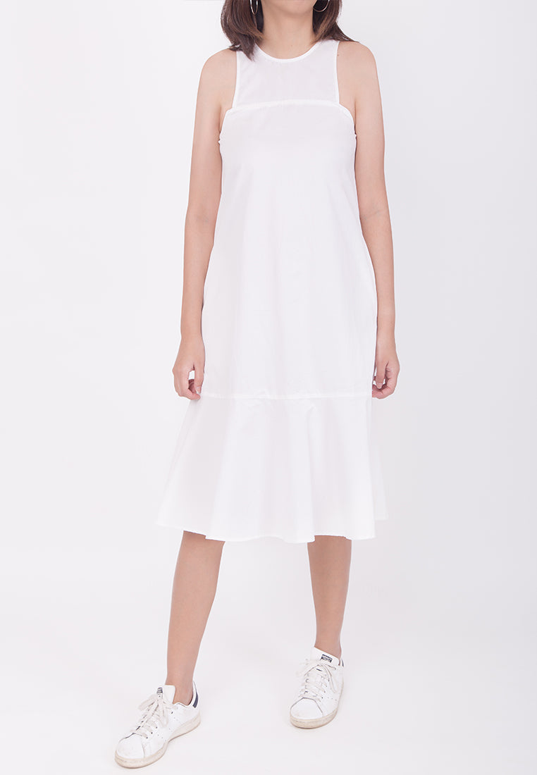 SLEEVELESS OVERSIZED FLARE-HEM DRESS - WHITE (MOMMY)