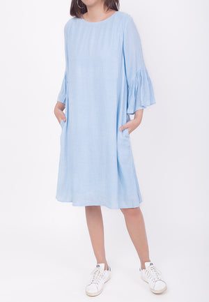 RUFFLED SLEEVES DRESS - BLUE (MOMMY)