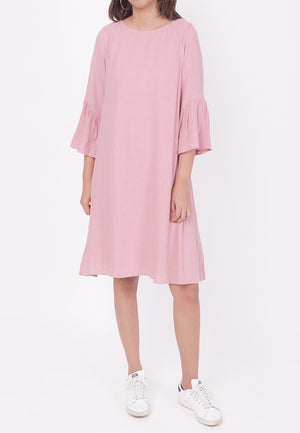 RUFFLED SLEEVES DRESS - PINK (MOMMY)