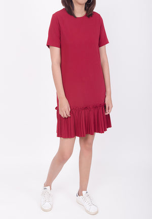 RUFFLED HEM DRESS - RED (MOMMY)