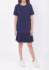 RUFFLED HEM DRESS - NAVY BLUE (MOMMY)