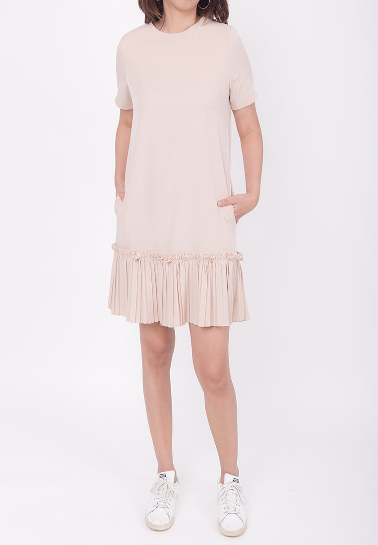 RUFFLED HEM DRESS - BEIGE (MOMMY)
