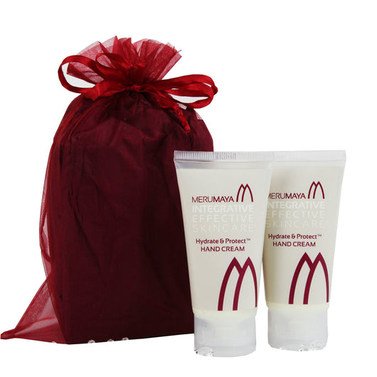 MERUMAYA® integrative effective skincare, best hand cream duo, adds intense hydration to hands as well as protecting from sun damage and age spots with SPF 15, perfect for gifts