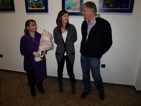 Melanie (artist) with Ana and Edo Ullrich of Ullrich gallery on opening of 2012 exhibition