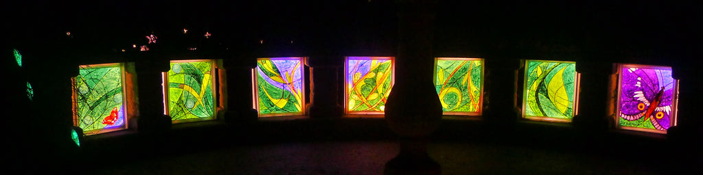 All 7 panels of my GlowWild lantern commission celebrating the Purple Emperor butterfly