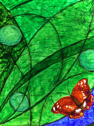 Panel 1 - Female Purple Emperor butterfly and three eggs on green leaves
