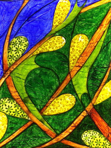 Panel 4 - features three caterpillars in the green and yellow flowers characteristic of the female and male willow tree respectively