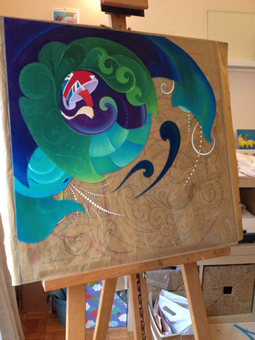 In progress photo for Storm in a Teacup painting from first signature to final image