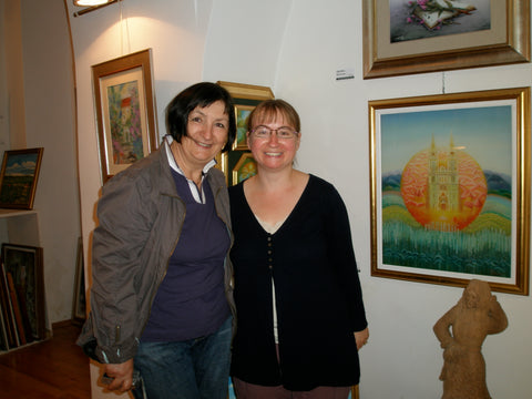 Katarina and I standing next to one of her paintings of Zagreb's cathedral
