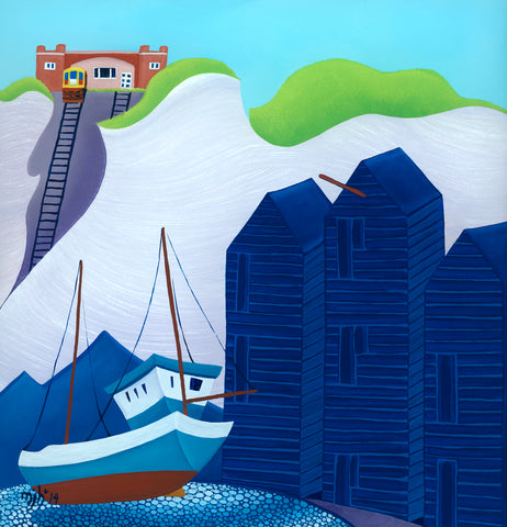 Painting of fisherman's boat and drying sheds in Hastings