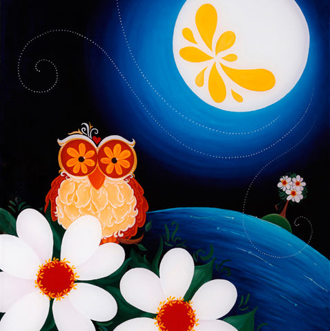 Night Owl with Flower Moon