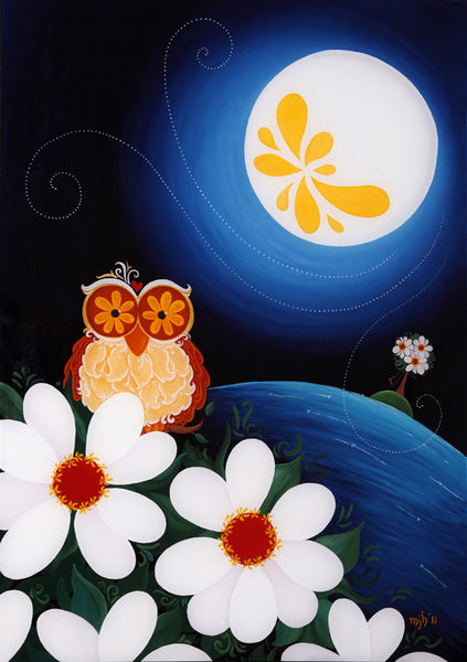 Night Owl with Flower Moon (A3 Print)