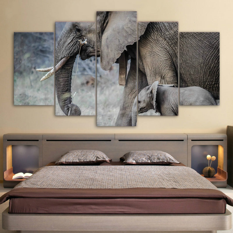 elephants walk young trunk tusks Canvas Art - Home Wall Deco