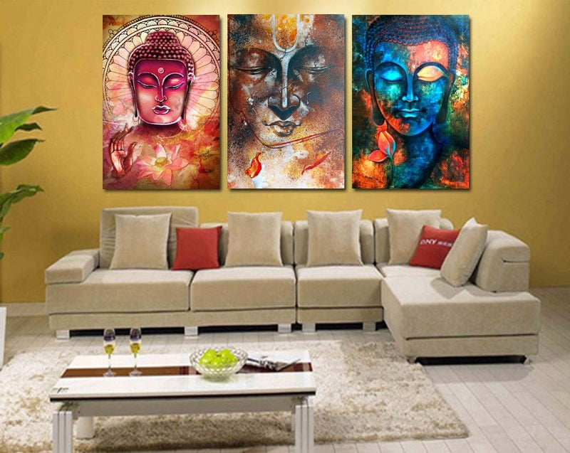 3 Pieces Colorfull Buddha Portrait Wall Art - Home Wall Deco