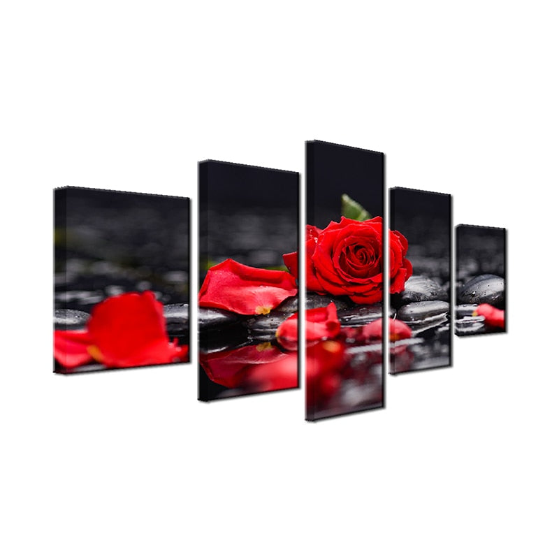 5 pieces Salon Watercolor Red Flower - Home Wall Deco