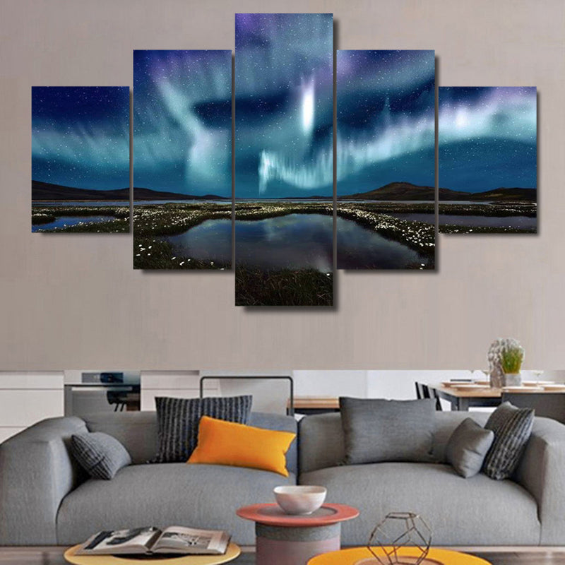 Canvas Wall Art Iceland BLUE AURORA 5 PIECE Canvas Art - Home Wall Deco