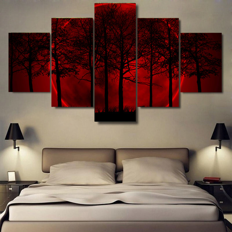 Red Moon Night Forest Tree Canvas Prints Wall Art Canvas Art - Home Wall Deco