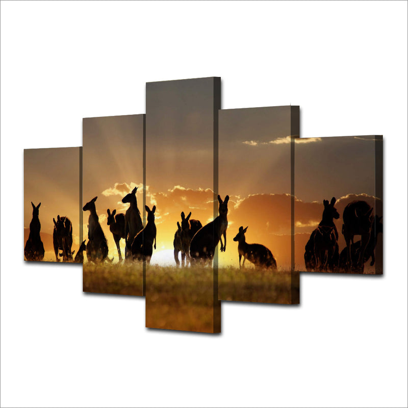 Kangaroos Sunset Canvas Art - Home Wall Deco