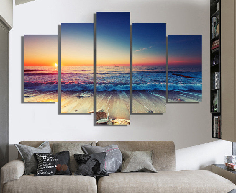 5 Pcs Seascape Wall Art Painted Canvas - Home Wall Deco