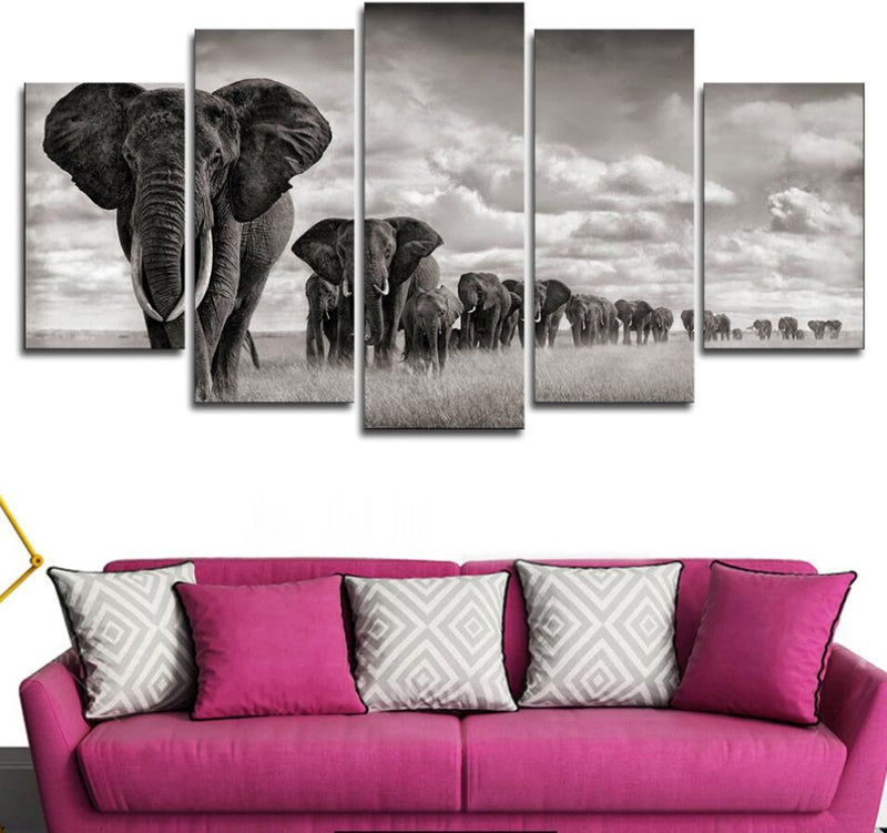 5 Pieces Home Decor Elephant Walking On The Grassland - Home Wall Deco