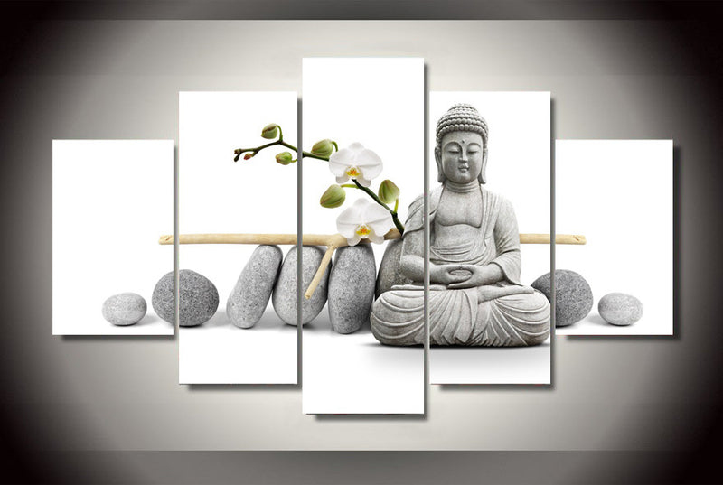 Stone Buddha Canvas Living Wall Art 5 Piece - Home Wall Deco