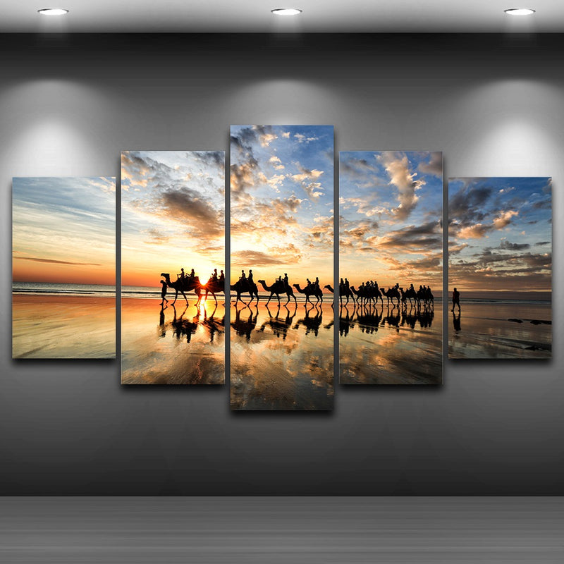 5 Pieces Beach Sunset Seaside Camels Team - Home Wall Deco
