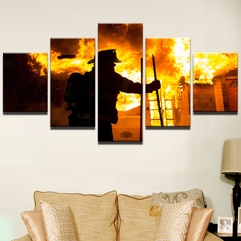 Canvas Wall Art Fireman Pictures Fire Fighter Warrior Canvas Art - Home Wall Deco