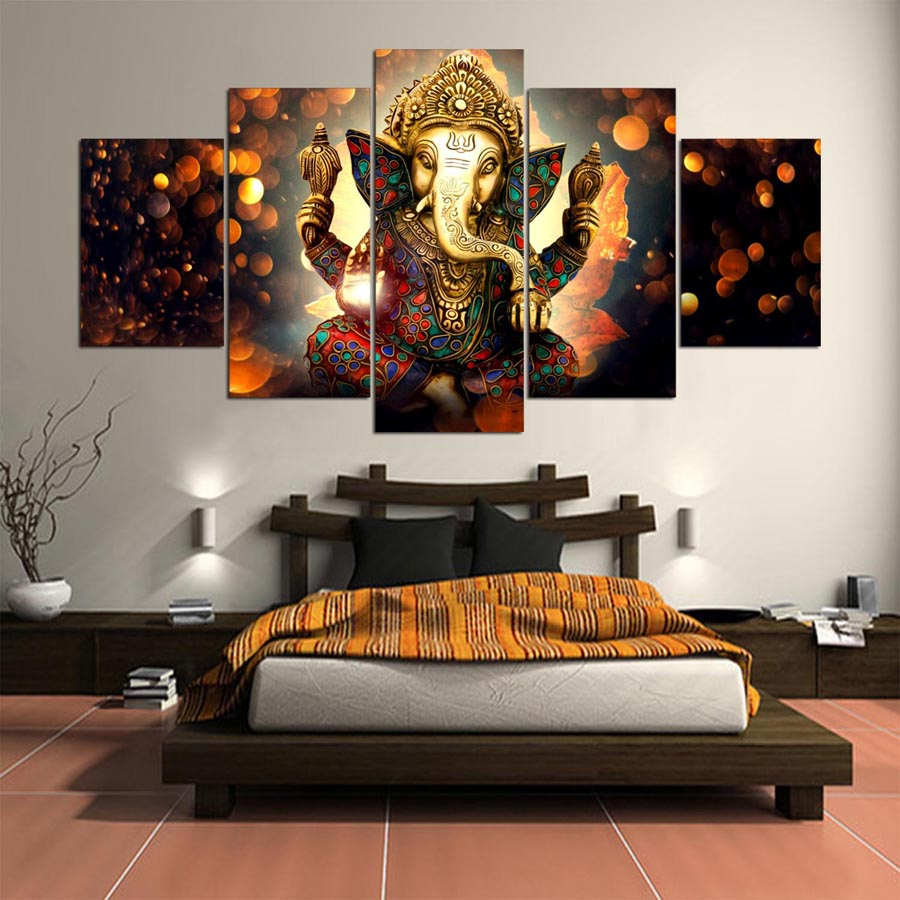 5 Pieces Elephant Trunk God Modular Ganesha Wall Art Home Decor Canvas Art - Home Wall Deco