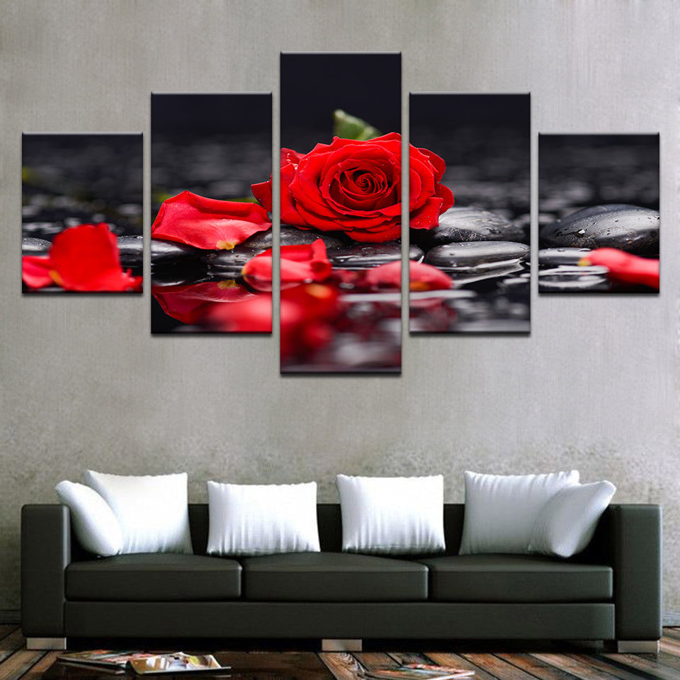 Red Rose Flowers - Home Wall Deco