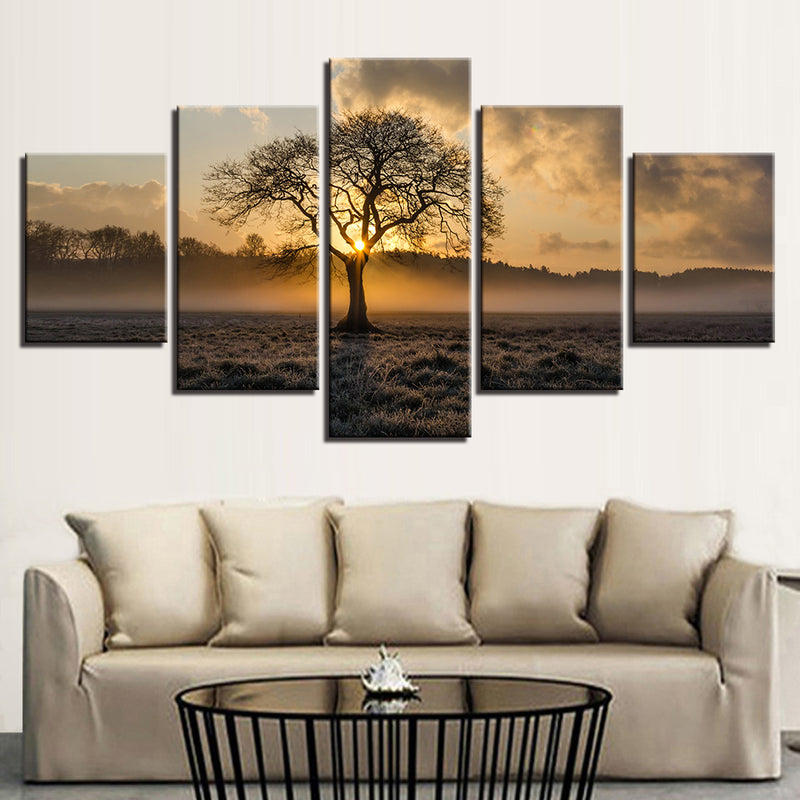 Canvas Paintings 5 Pieces Sunrise Tree Landscape Paintings - Home Wall Deco
