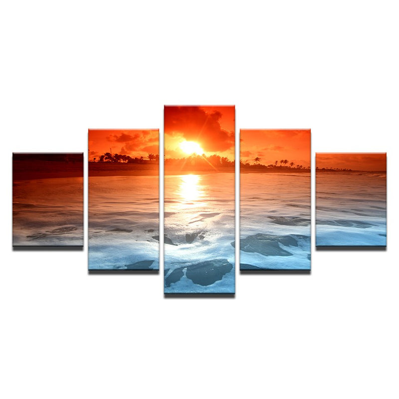 5 Pieces Beach Sea Waves Sunset Sky - Home Wall Deco