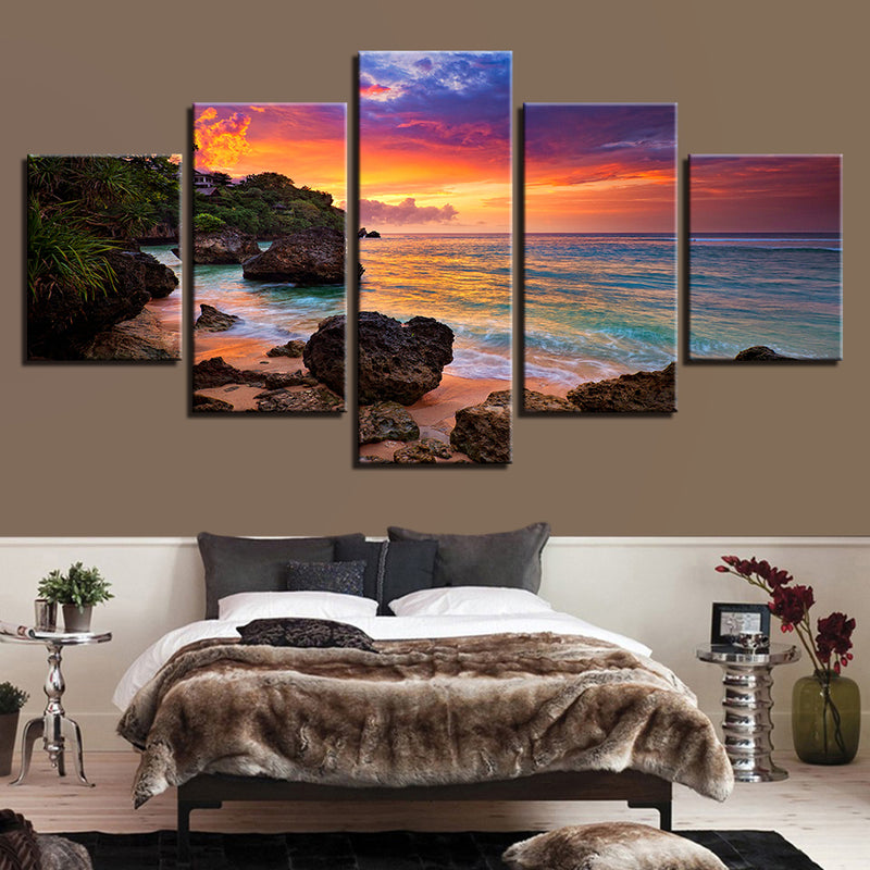 5 Pieces Sunset Glow Beach Waves Seascape - Home Wall Deco