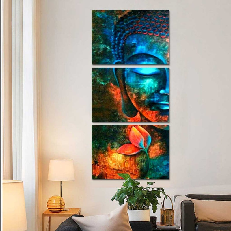 3 Pieces Abstract Blue Buddha - Home Wall Deco