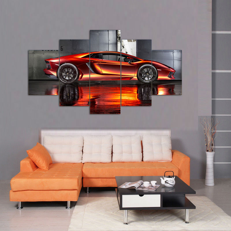 Red Car Room Decor Wall Art On Canvas Canvas Art - Home Wall Deco