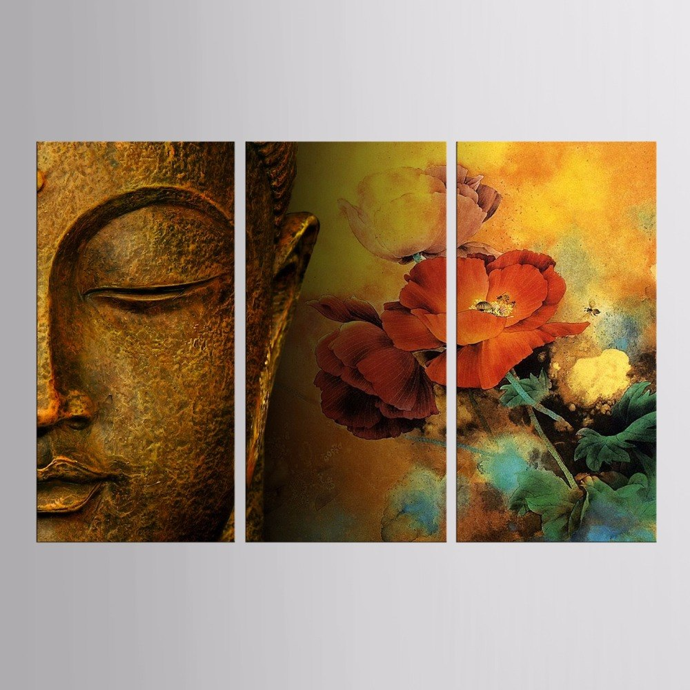 3 Pieces Flower Buddha Canvas Painting - Home Wall Deco