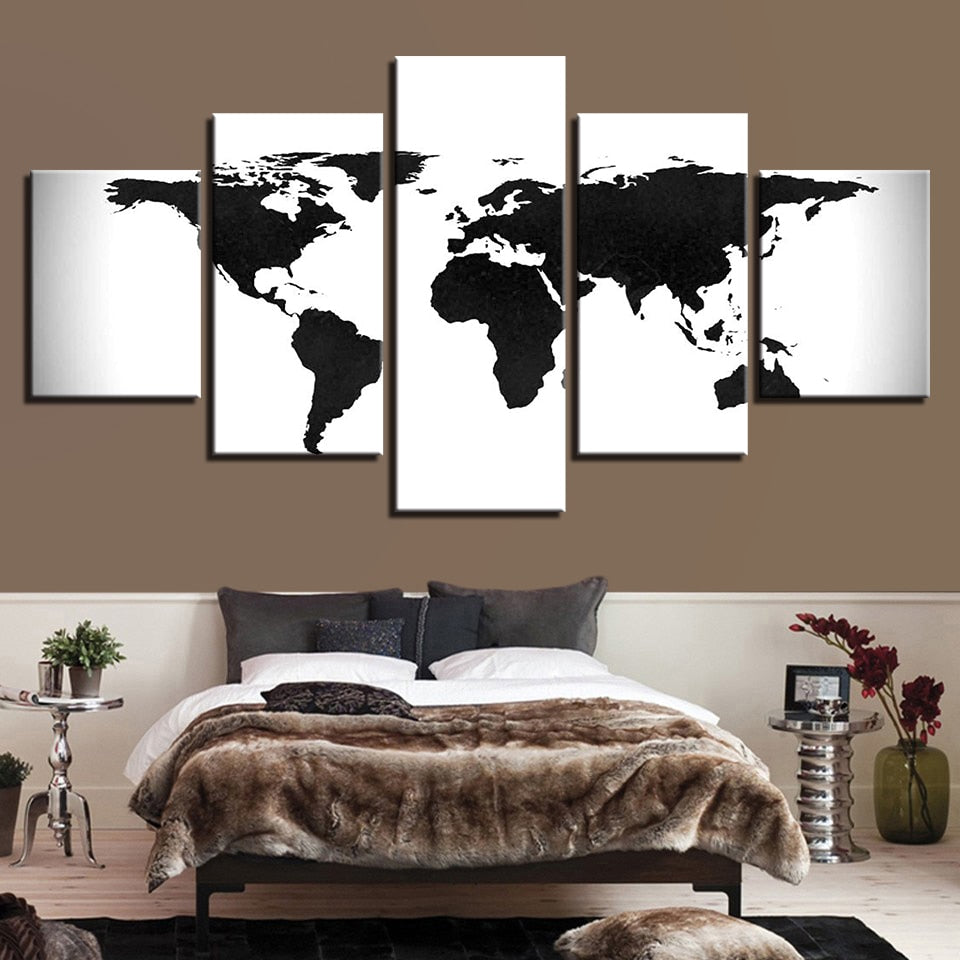 5 Pieces World Map - Home Wall Deco