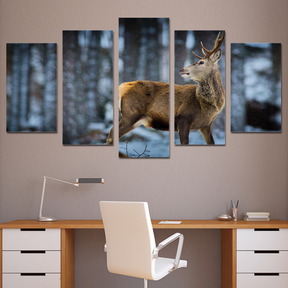 5 Piece Canvas Art Brown Deer Snow Forest Wall Pictures - Home Wall Deco