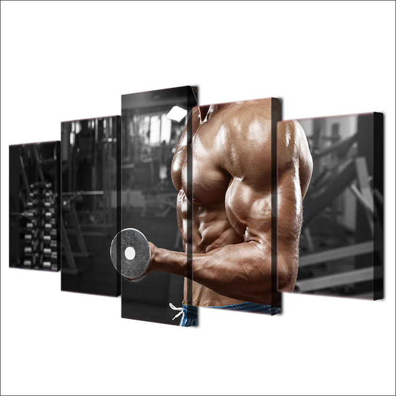 Gym Fitness Dumbbells Sports Canvas Wall Art Pictures for Living Room Canvas Art - Home Wall Deco
