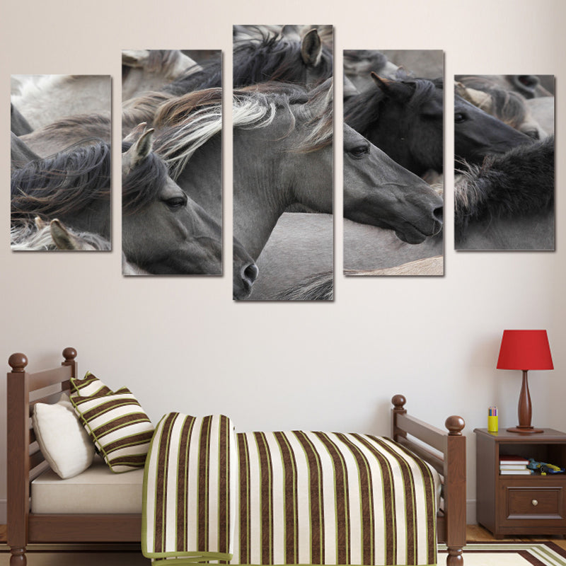 Running Gray Black Horses Wall Art Canvas For Bedroom Canvas Art - Home Wall Deco