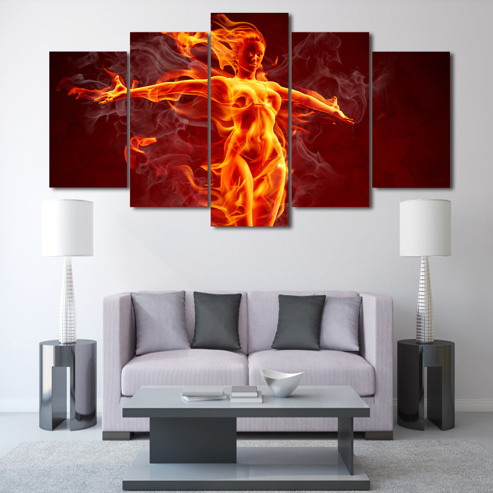 Flame Girl Canvas Art For room decor - Home Wall Deco