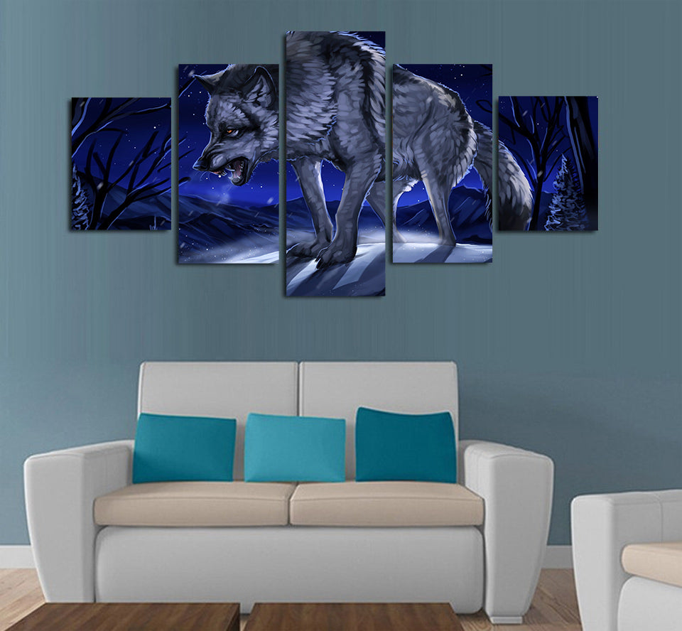The Wolf moonlight night Painting Canvas Art - Home Wall Deco