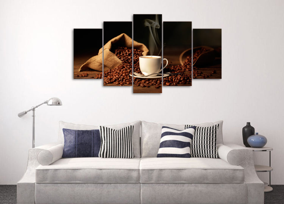 bag with coffee beans shoulder cup Canvas Art - Home Wall Deco