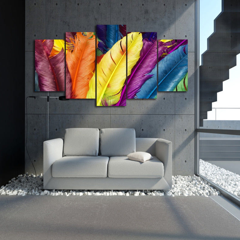 colorful feathers 5 pieces room decor canvas Wall Art Canvas Art - Home Wall Deco