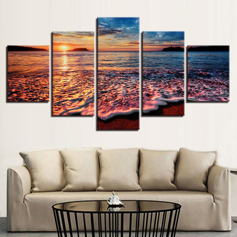 5 Pieces Sunset Sea Waves Seascape - Home Wall Deco