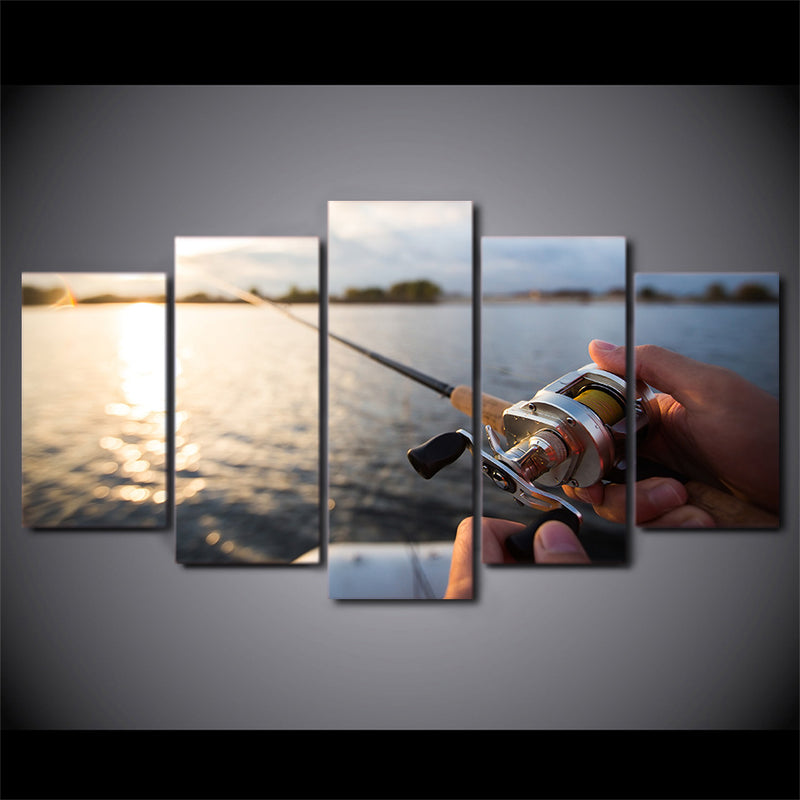 canvas art fishing in the lake sunset wall pictures Canvas Art - Home Wall Deco