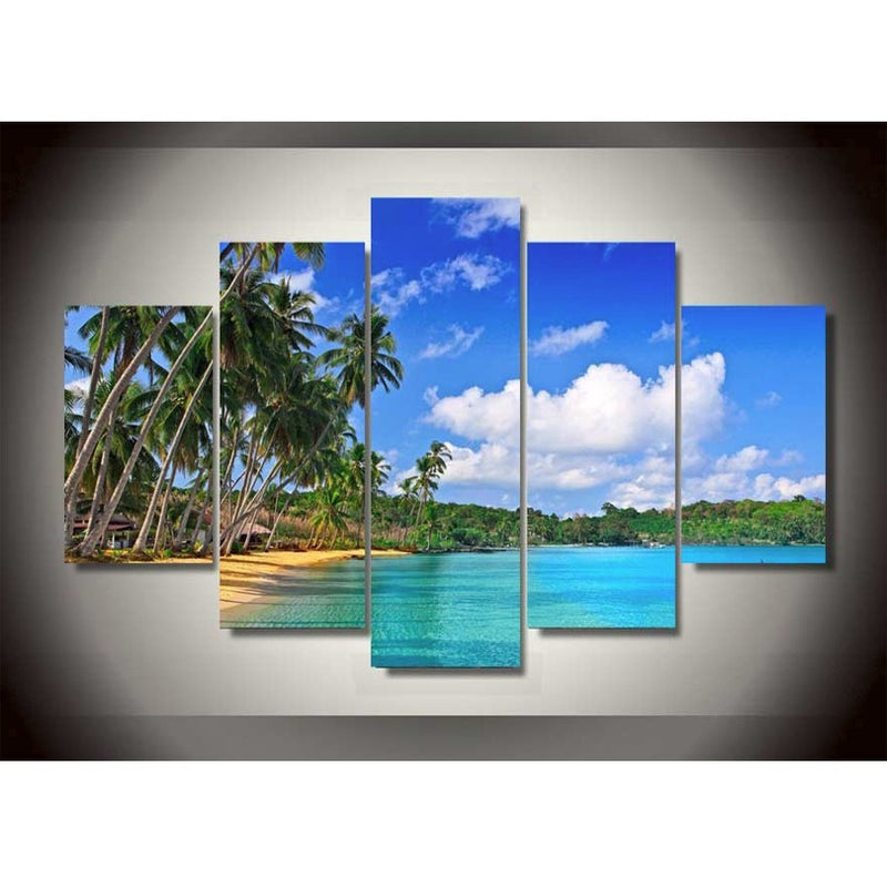 Sea Blue Sky Beach 5 Piece Canvas Art - Home Wall Deco
