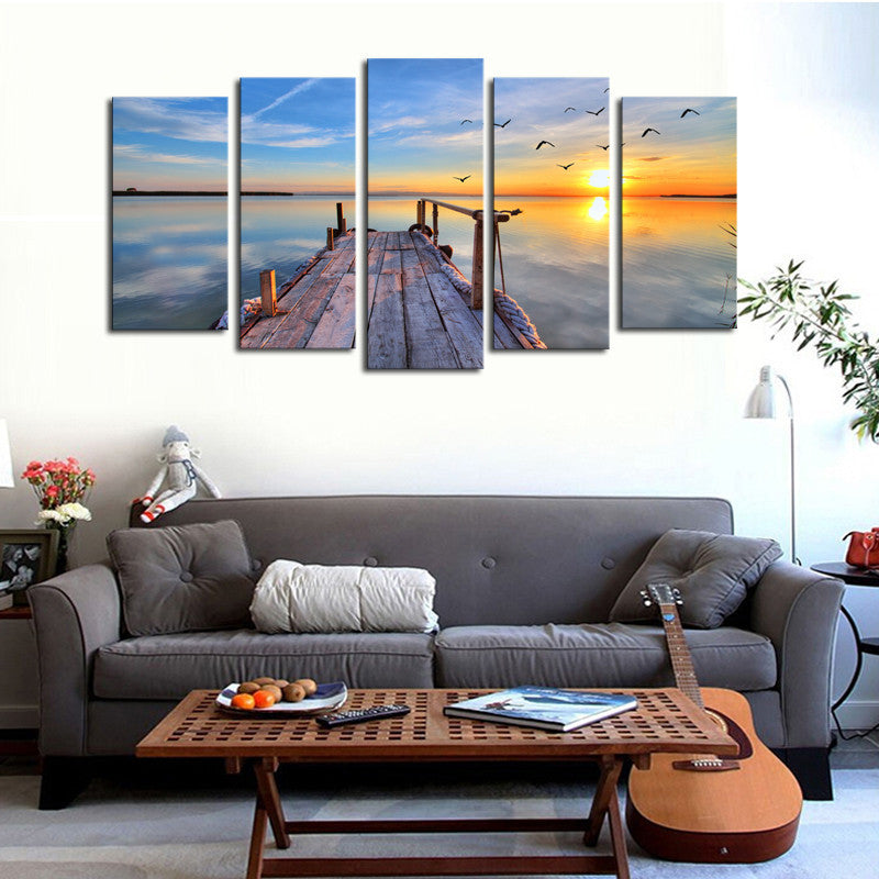 5 Piece Sunset Seascape dock Scenery Canvas - Home Wall Deco