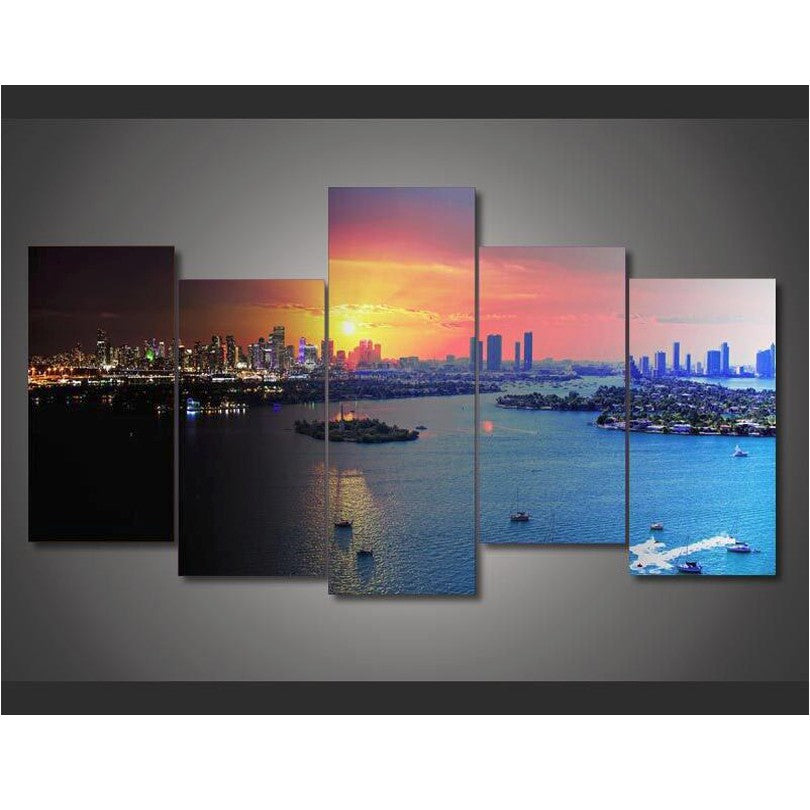 Florida Miami 5 Pieces Wall Art Home Decoration Canvas Art - Home Wall Deco