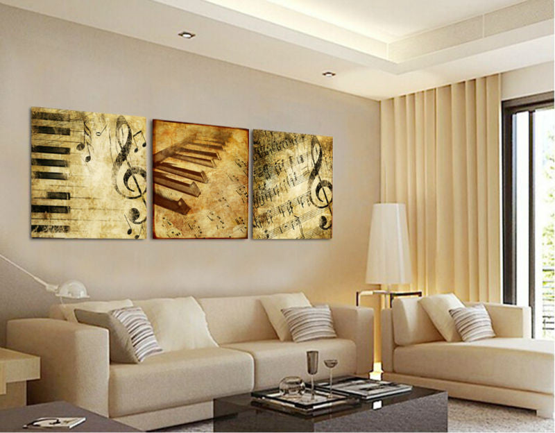 3 pieces Classical Piano Music Canvas - Home Wall Deco